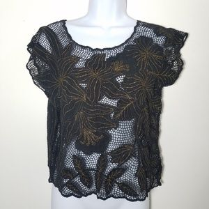 gold embroidered lace black boho flower blouse